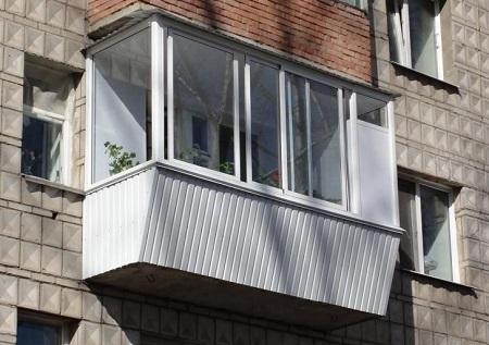 Балкон алюминиевый с выносом 3000х1000х1500